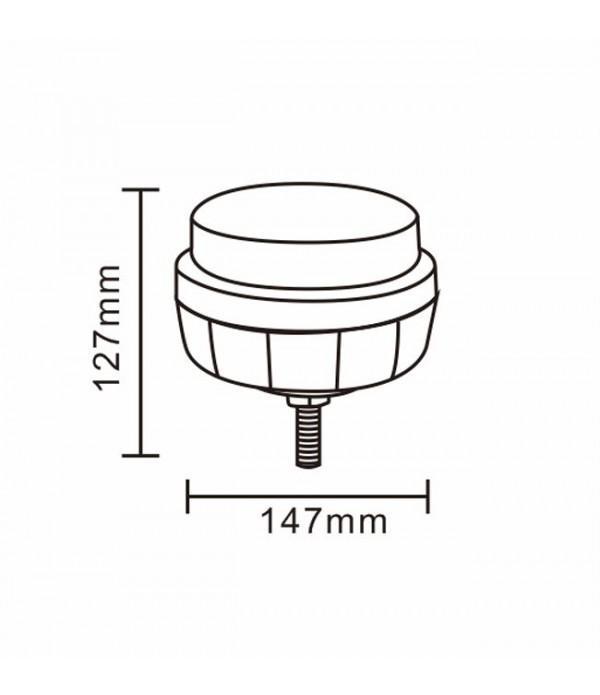 Girofar 12/24V, 8 LED-uri, cu prindere in 1 surub